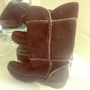 Sporto brown leather man made fur lined boots 9.5